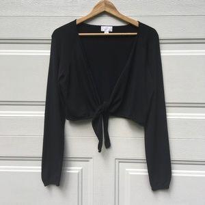 Ann Taylor LOFT Shrug Black XL Tie-Front Cardigan